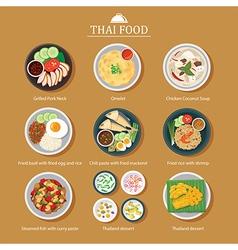 Set of thai food flat design vector