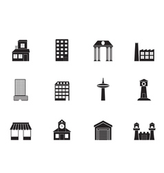 Silhouette different kind of building and City vector image vector image