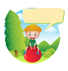 Speech bubble template with boy on red ball vector