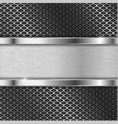Stainless steel plate on perforated background vector