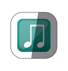 Sticker color square with musical note vector
