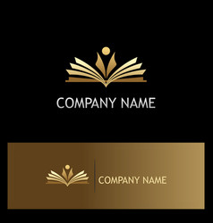 Student open book education gold logo vector