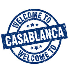 Welcome to casablanca blue stamp vector