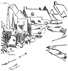 Winter landscape sketch village with house and vector