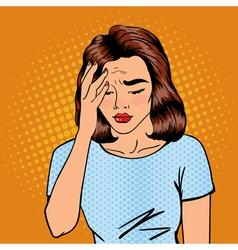 Woman has a headache woman stress exhausted vector