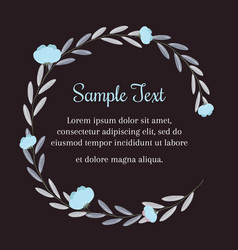 Wreath of blue flowers in vintage style for text vector