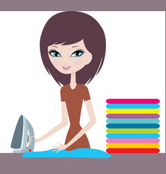 Young cartoon woman irons clothes vector image vector image