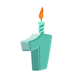 1 year birthday figures with festive candle for vector