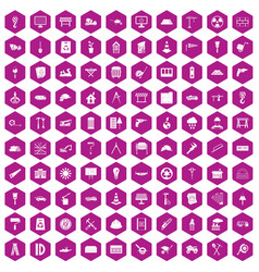 100 construction site icons hexagon violet vector