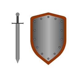 Set of sign shield and sword silver 2108 vector