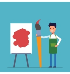 Artist man painting on canvas with art happy vector
