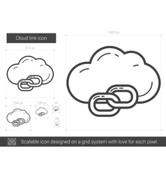 Cloud link line icon vector