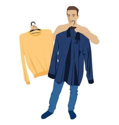 a man who chooses his clothes vector image