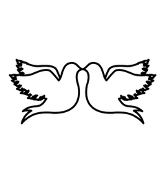 Monochrome contour with doves attached by the peak vector