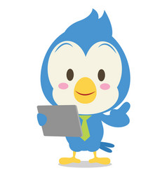blue jay with tablet character vector image