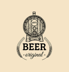 Kraft beer barrel logo old brewery icon hand vector