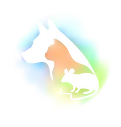 Colored logo for veterinary clinic and pet shop vector