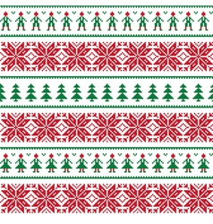 Christmas Nordic seamless pattern with people vector image