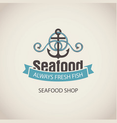 Banner for seafood with an anchor rope and words vector