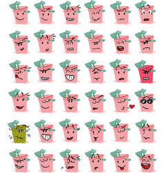 Set of pink bucket and beach shovel character emoj vector