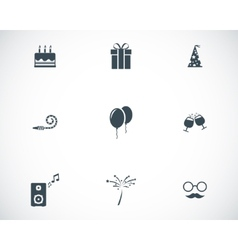 black birthday icons set vector image