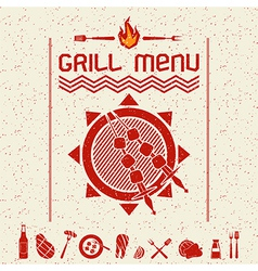 Grill menu emblem and icons dark red vector