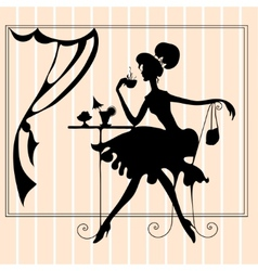 Featuring the silhouette of a woman vector