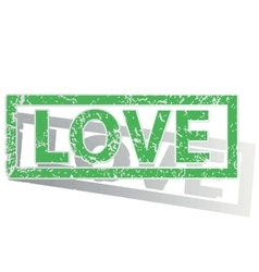 Green outlined love stamp vector
