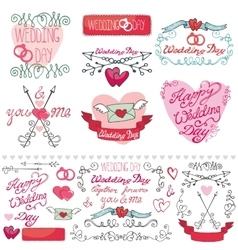 Wedding decor elements setlabelscardsinvitation vector
