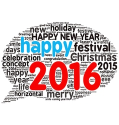 Happy new year 2016 cloud of words vector