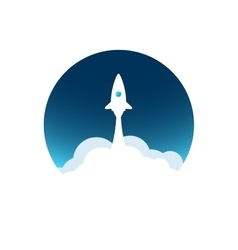White rocket with cloud and blue sky circle icon vector