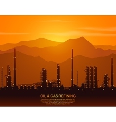 Silhouette of oil refinery or chemical plant vector