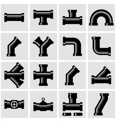 Black pipe fittings icon set vector