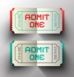 Admit one paper cut tickets set vector