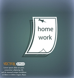 Homework icon on the blue-green abstract vector