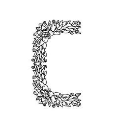 Letters floral c vector