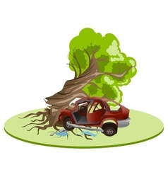 Accident car crash ran into tree vehicle vector