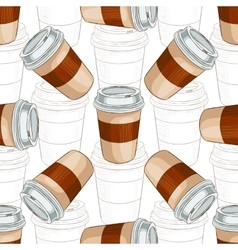 Seamless pattern coffee to go scetch and color vector