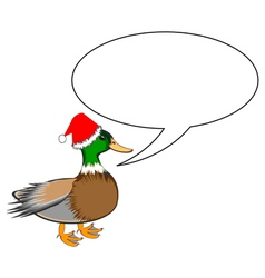 A funny Christmas duck with a speech bubble vector image