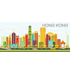 Abstract Hong Kong Skyline with Color Buildings vector image vector image