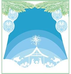 Birth of jesus in bethlehem card vector