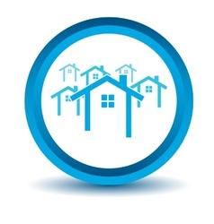 Blue house icon vector