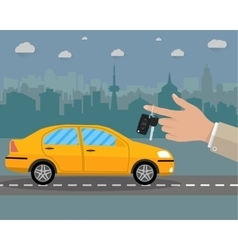 buy rental or lease car on road and cityscape vector image