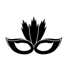 Carnival mask with feathers pictogram vector
