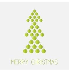 Christmas ball set in shape of green fir tree vector