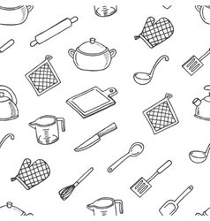 Cook tools white and black seamless pattern vector