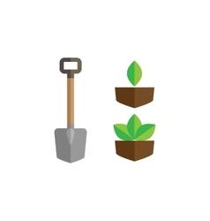 Garden shovel green leaf icon vector image