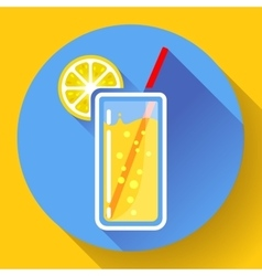 glass of juice with lemon icon flat 20 designe vector image vector image