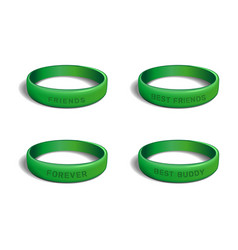 green plastic wristband set for friendship day vector image vector image