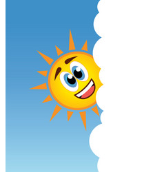 happy sun smiling behind a cloud vector image